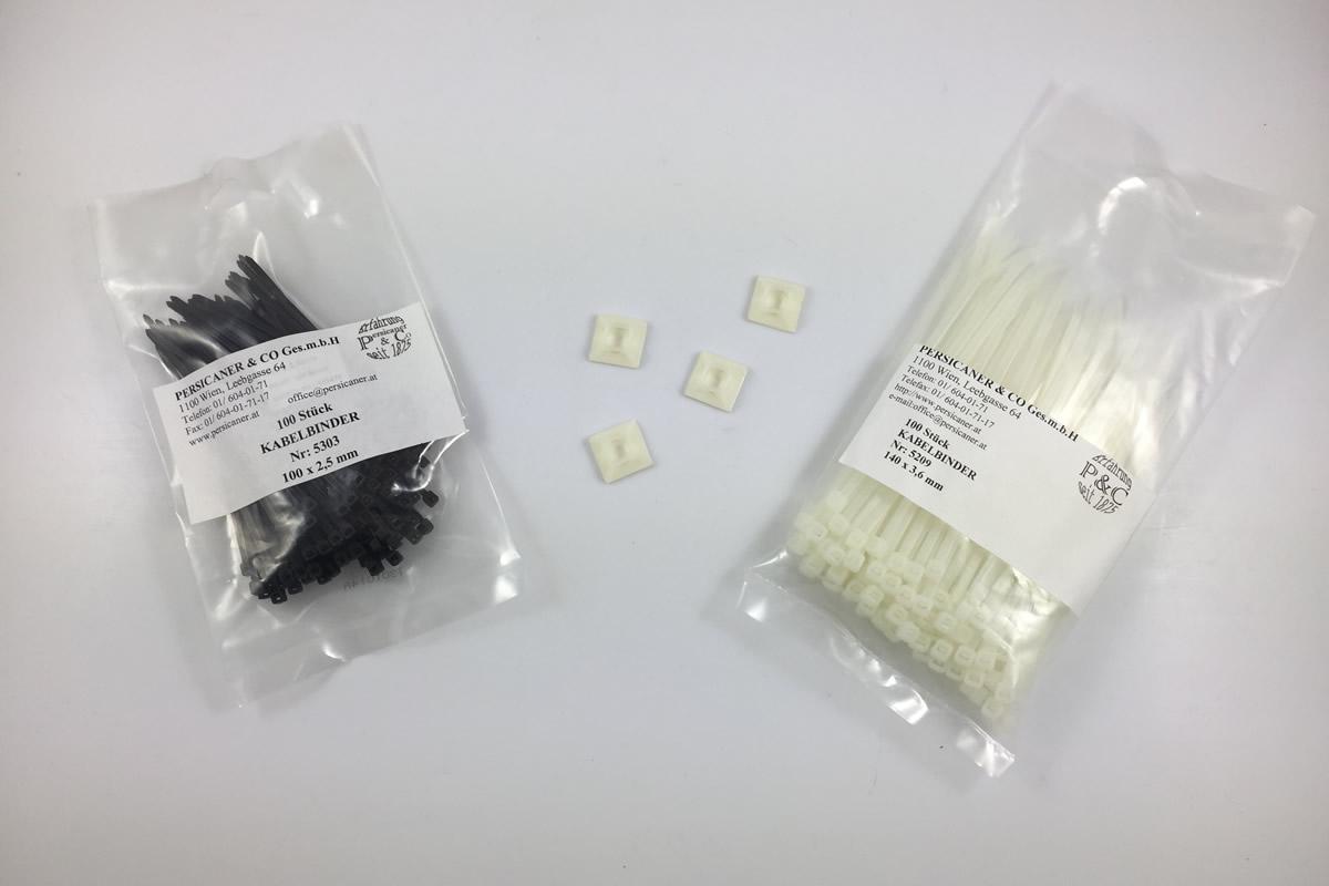 Kabelbinder + Klebesockel