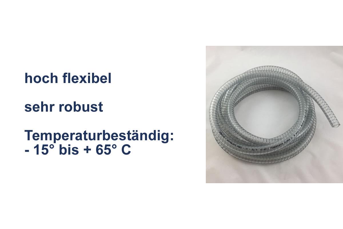 PVC Schlauch transparent mit Stahl-Spirale