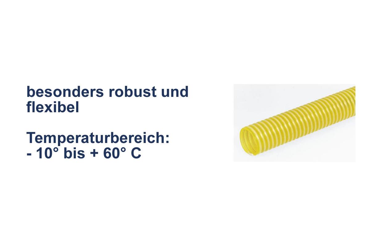 Saug- und Druckschlauch aus PVC gelb